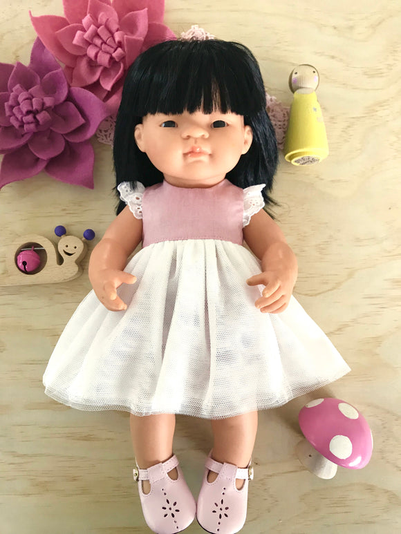 Coco Dress Set to suit 38cm Miniland Doll - Dusty Pink