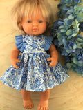 Edith Dress Set to suit 38cm Miniland Doll - Coco and Ginger - Porcelain Indian Flowers