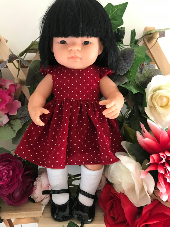 Dress Set to suit 38cm Miniland Doll - Crimson Corduroy