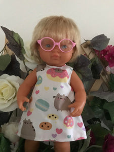 Doll Glasses - Clear lens - spectacle style - Classic - Pink