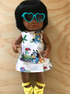 MADE TO ORDER (UP TO 2 WEEKS MAKE TIME) Dress Set - PINNY -  to suit 38cm Miniland Doll -  Bluey - Portrait