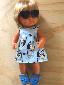 MADE TO ORDER (UP TO 2 WEEKS MAKE TIME) Dress Set - PINNY -  to suit 38cm Miniland Doll -  Bluey - All Over