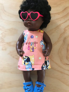 Dress Set - PINNY -  to suit 38cm Miniland Doll -  Bluey - Sleepy