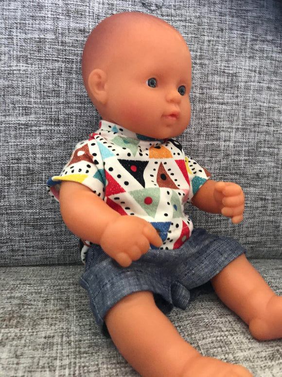 Shorts Set to suit 32cm Miniland doll - Triangle T and Dark Denim Shorts