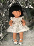Dress Set to suit 38cm Miniland Doll - Silver Snow