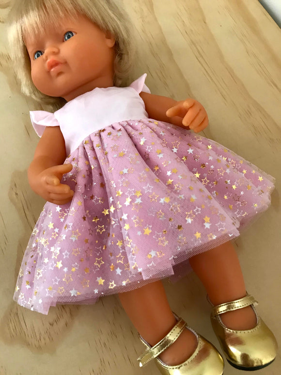 Coco Dress Set to suit 38cm Miniland Doll - Gold Star Dust