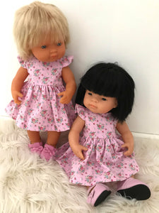 Dress Set to suit 38cm Miniland Doll - Candy pink Bouquets