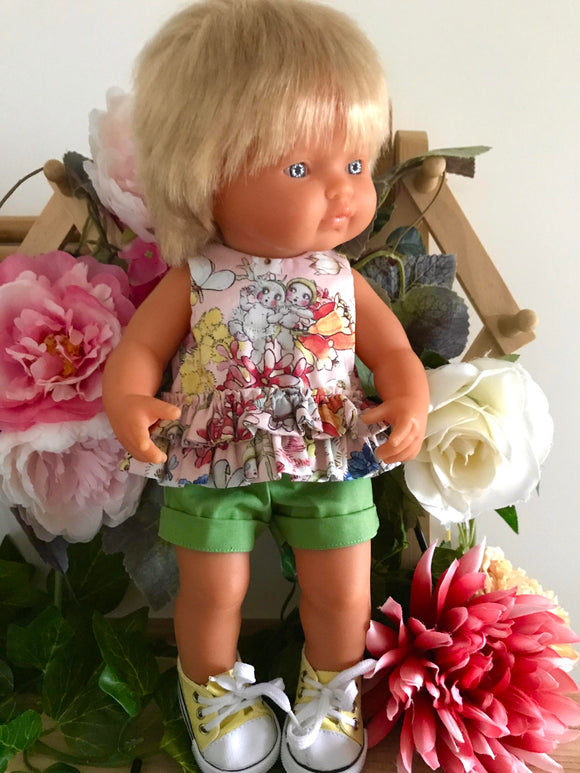 Shorts Set to suit 38cm Miniland Doll -May Gibbs -  Snuggle Pot and Cuddle Pie Pink