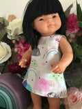Dress Set - PINNY -  to suit 38cm Miniland Doll - Laura Blythman - Rainbow