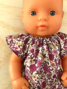 Eva romper to suit 32cm Miniland Doll - Plum Blooms