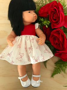 Stephanie Dress Set to suit 38cm Miniland Doll - Bows - Red