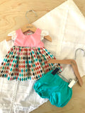 Stephanie Dress Set to suit 38cm Miniland Doll - Diamonds