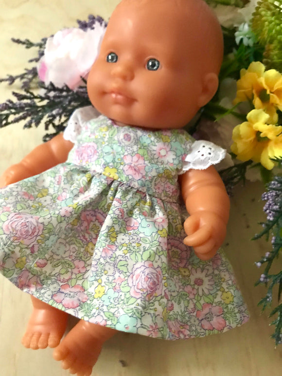 Stephanie Dress Set to suit 21cm Miniland Doll - Liberty London - Amelie