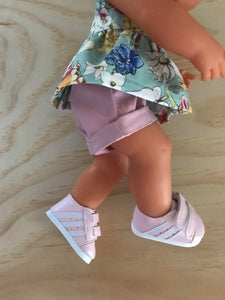 Trainers. Velcro Shoes to suit 38cm Miniland Doll - Faux Leather - Pink with White Stripes