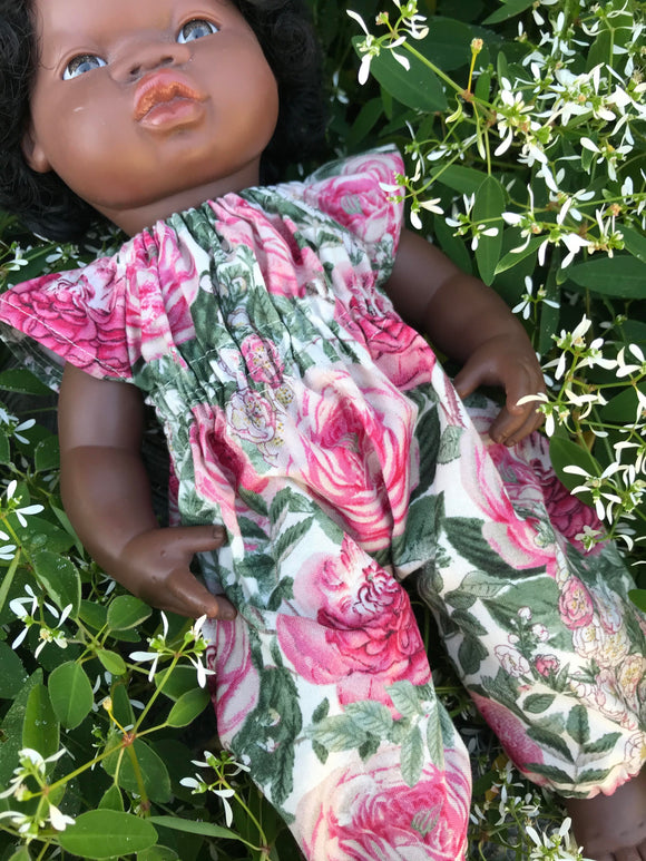 Jumpsuit to suit 38cm Miniland Doll - Roses at Dusk