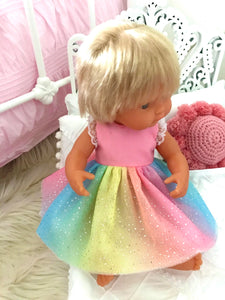Coco Dress Set to suit 38cm Miniland Doll - Rainbow Sparkles