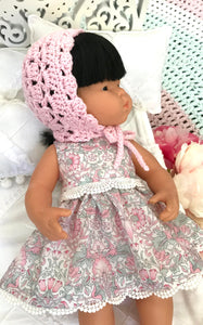 Doll Bonnet - Made to suit Miniland 38cm Doll and Ollie Ella Dinkum Doll - Crochet - Light Pink