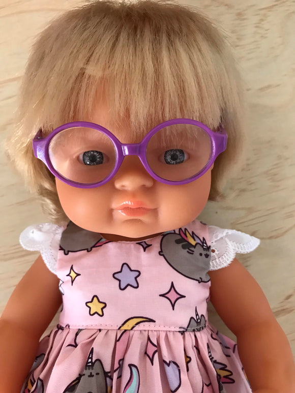 Doll Glasses - Clear lens - spectacle style - Classic - Purple