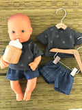 Shorts Set to suit 32cm Miniland doll - Charcoal 'T' and Dark Denim Shorts