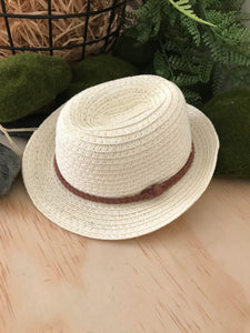 Doll Hat - Fedora cream with Tan