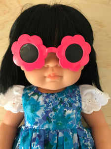 Doll Glasses - Tinted lens - Sun Glasses style - Flower - Bright Pink