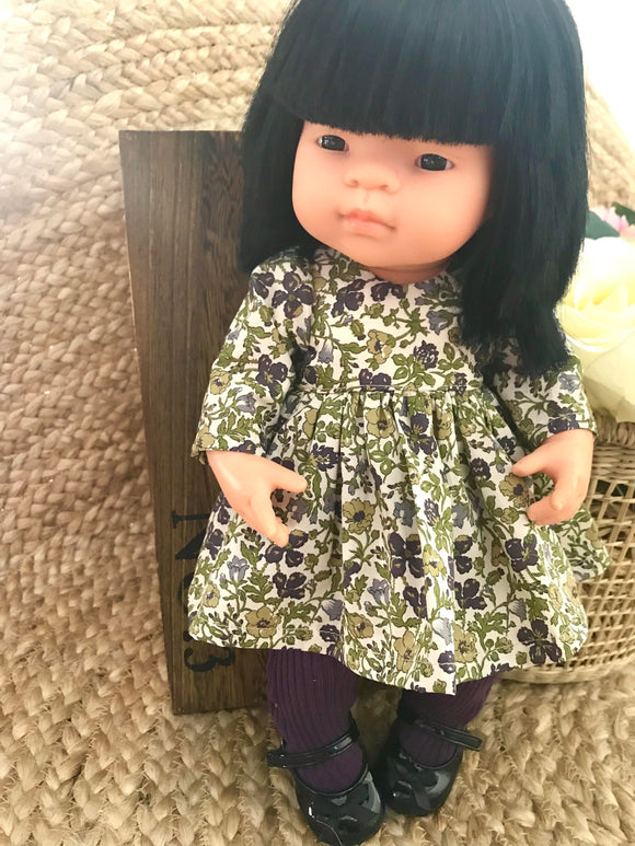 Francine Dress Set to suit 38cm Miniland Doll- Liberty London - Meadow