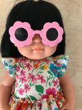 Doll Glasses - Tinted lens - Sun Glasses style - Flower - Pink