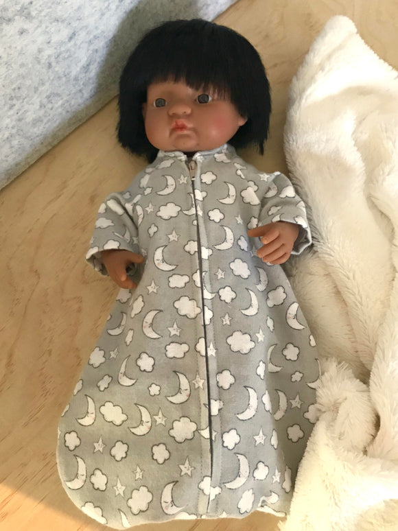 Sleeping Bag 3 piece Set to suit 38cm Miniland Doll - Grey Night Sky