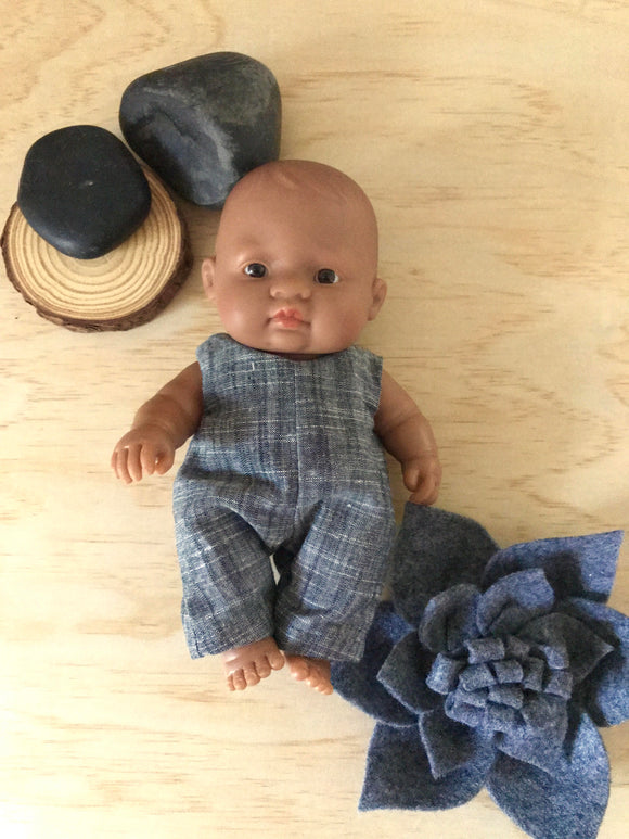Overalls to suit 21cm Miniland Doll - Charcoal