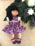 MADE TO ORDER (2 WEEKS) Dress Set to suit 38cm Miniland Doll - Kasey Rainbow - Jacaranda Joy