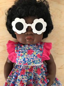 Doll Glasses - Tinted lens - Sun Glasses style - Flower - White
