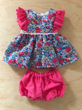 Edith Dress Set to suit 38cm Miniland Doll - Coco and Ginger - Meadow Azure