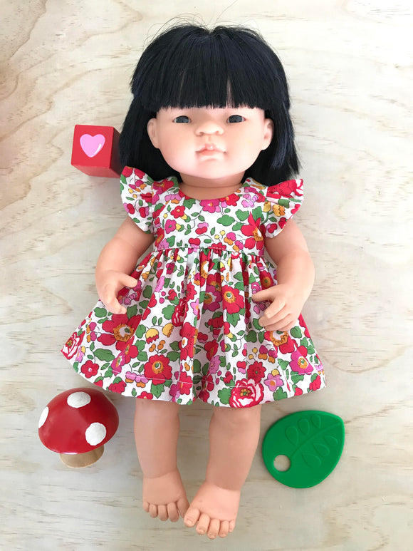 Suzette Dress Set to suit 38cm Miniland Doll - Liberty London - Betsy Red