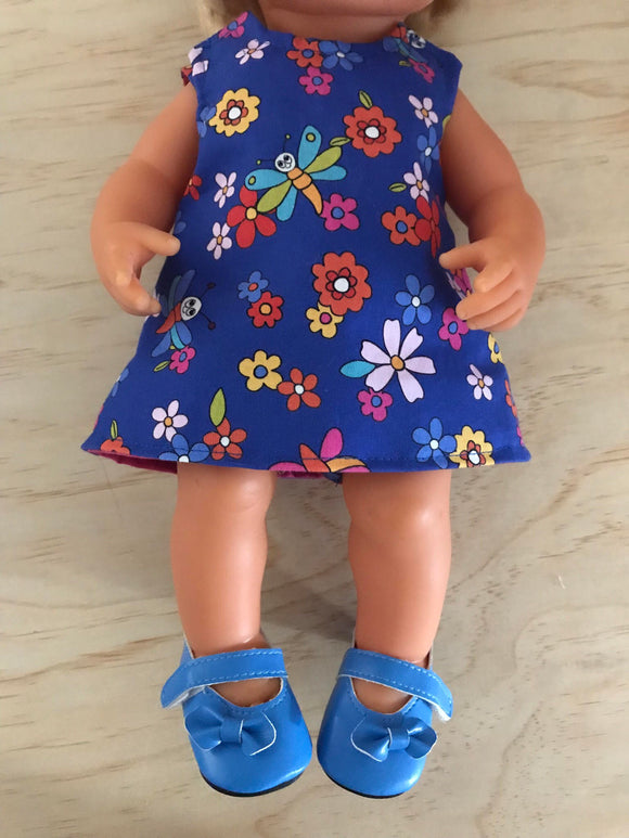 Mary Jane Shoes to suit 38cm Miniland Doll - Cornflower Blue