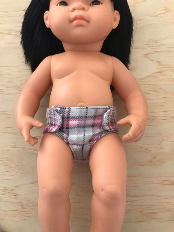 Nappy to suit 38cm Miniland Doll - Pink Tartan