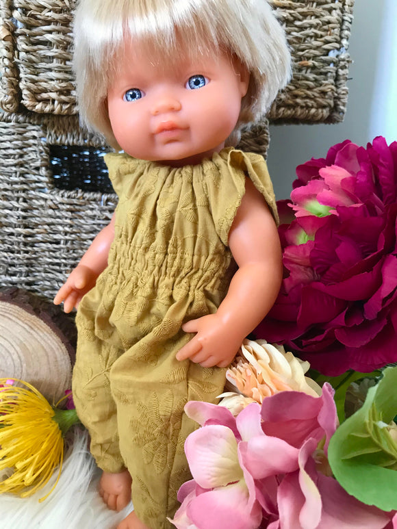 Jumpsuit to suit 38cm Miniland Doll - Mustard Embroidered