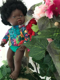 MADE TO ORDER (2 WEEKS) Rashie Set to suit 38cm Miniland Doll - Kasey Rainbow - Full Bloom