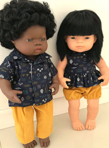 Zoe Bloomer and Blouse Set to suit 38cm Miniland doll - Navy Dot and Dash