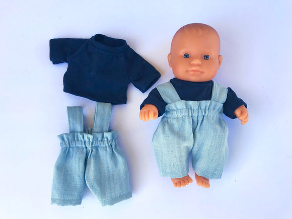 Doll Trousers Set to suit 21cm Miniland doll - Britches - light denim and navy t'shirt