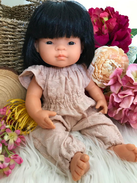 Jumpsuit to suit 38cm Miniland Doll - Blush Embroidered