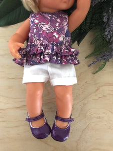 Mary Jane Shoes to suit 38cm Miniland Doll - Purple
