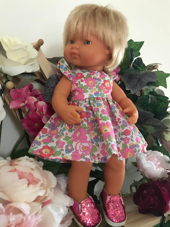 MADE TO ORDER (UP TO 2 WEEKS) Dress Set to suit 38cm Miniland Doll - Liberty London - Betsy Pink