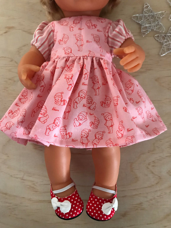 Shoes to suit 38cm Miniland Doll - Red with white polka dot