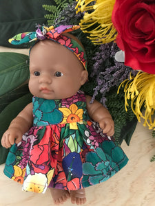 MADE TO ORDER (2 WEEKS) Dress Set to suit 21cm Miniland Doll - Kasey Rainbow - Full Bloom
