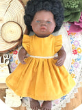 Edith Dress Set to suit 38cm Miniland Doll - Corduroy - Mustard