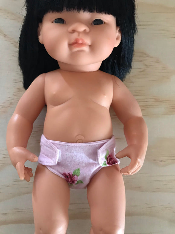 Nappy to suit 38cm Miniland Doll - Pink Roses