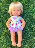 Zoe Bloomer and Blouse Set to suit 38cm Miniland doll - Tootie Fruity