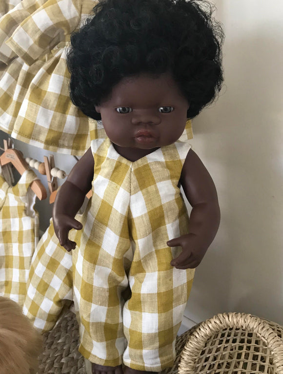 Overalls to suit 38cm Miniland Doll - Freckly Ollie - Mustard Gingham