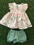 MADE TO ORDER (UP TO 2 WEEK TURN AROUND)  Edith Dress Set to suit 38cm Miniland Doll - May Gibbs - Pink Flannel Flower Babies