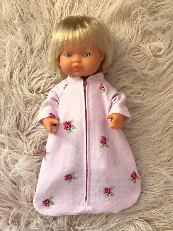 Sleeping Bag on its own, to suit 38cm Miniland Doll - Pink Roses